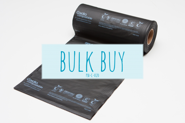 Black Cardia compostable, earth friendly dog waste bag partially unrolled, bulk buy preview